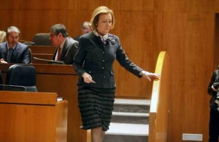 La presidenta Rudi , esta mañana en las Cortes de Aragon