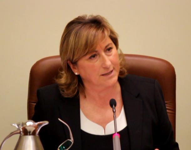 En la imagen , la Presidenta de la DPT, Carmen Pobo, que esta mañana ha pedido a los socialistas que renuncien a sus remuneraciones , en coherencia con lo que los mismos socialistas han pedido