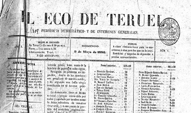 """Nuestro lejano homónimo, """"El Eco de Teruel"""", vio la luz un día como hoy de 1886 (foto: Biblioteca Virtual de Prensa Histórica)."""