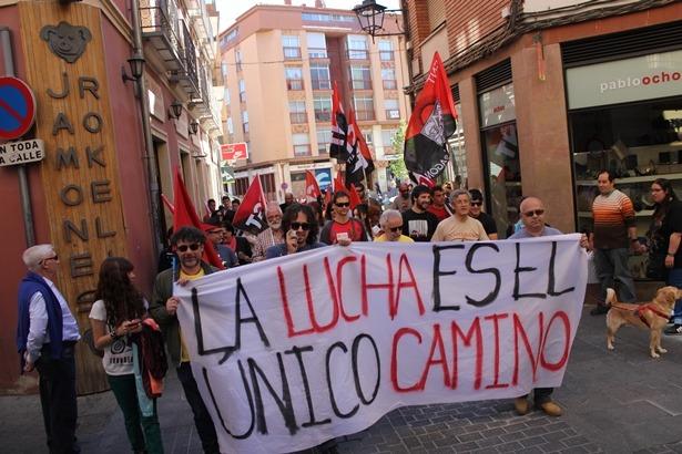 La manifestación del Bloque bajando por el Tozal, ayer