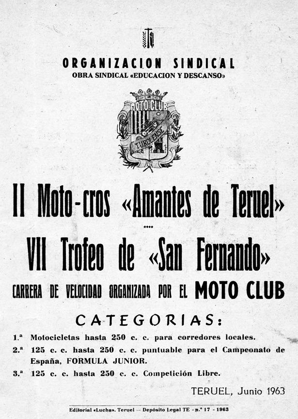 Un día como hoy, se disputó en Teruel la primera edición del que llegó a ser tradicional moto-cross. En la imagen, programa del segundo año.