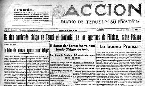 Un día como hoy de 1935, se publicaba la noticia de que fray Anselmo Polanco sería el próximo obispo de Teruel (Foto: Biblioteca Virtual de Aragón).