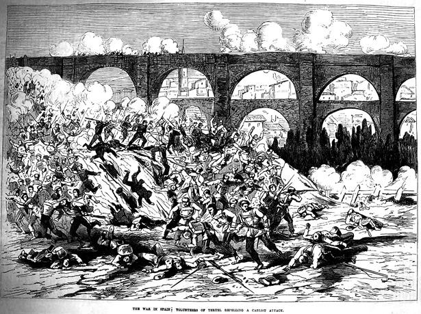 """El 3 de agosto, hasta la guerra civil de 1936 se conmemoraba en Teruel el primer ataque carlista producido en 1874; aquí, según un grabado publicado en agosto de ese mismo año por """"The Ilustrated London News""""."""