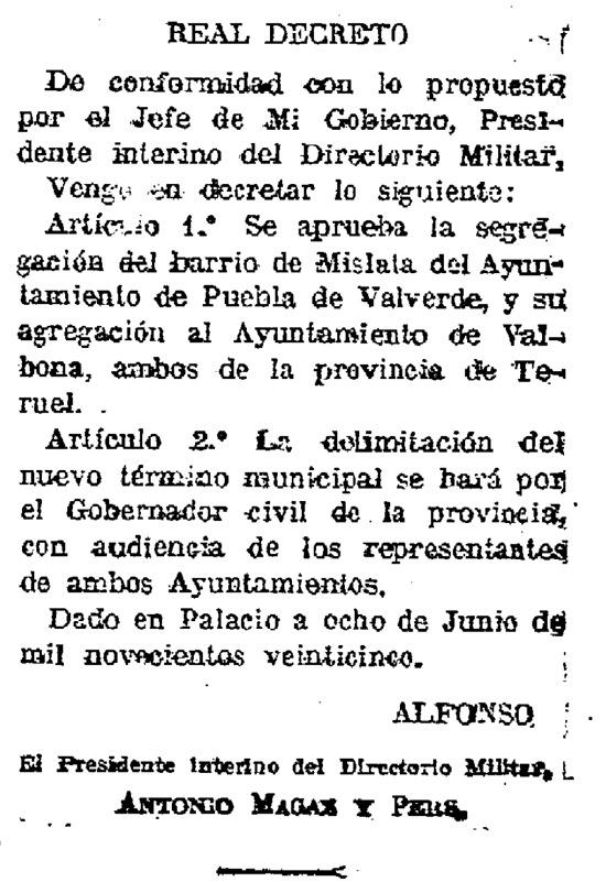 """Real Decreto, publicado en """"La Gaceta"""", por el que Mislata se segregó de La Puebla de Valverde."""