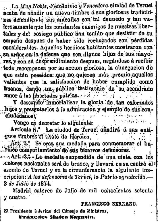 """Real Decreto publicado en """"La Gaceta"""" por el que hace 140 años la ciudad de Teruel añadía a sus títulos el de """"Heroica"""" (www.boe.es)."""