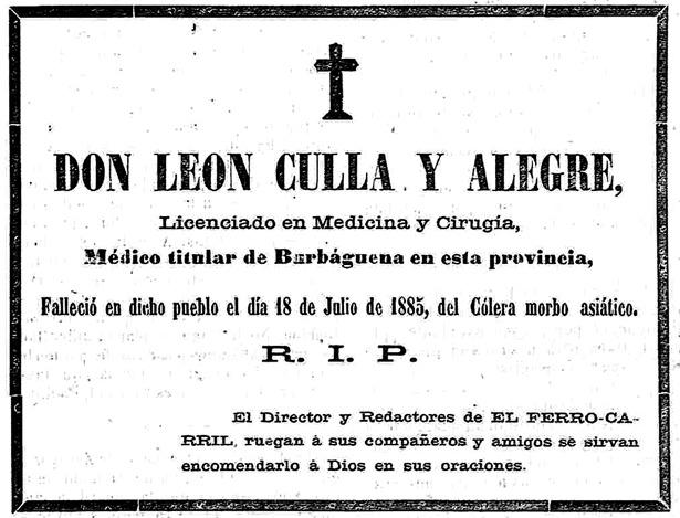 Los médicos tampoco estaban a salvo del cólera en la epidemia de 1885, como demuestra esta esquela.