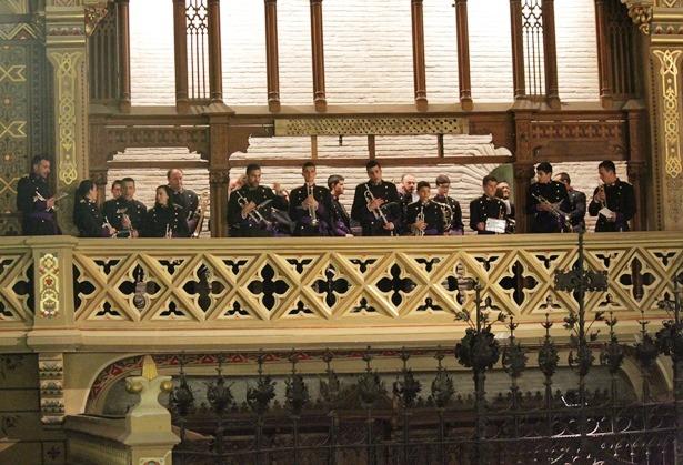 La Agrupación Musical Ciudad de Teruel, ayer en la zona del Coro de la Iglesia de San Pedro
