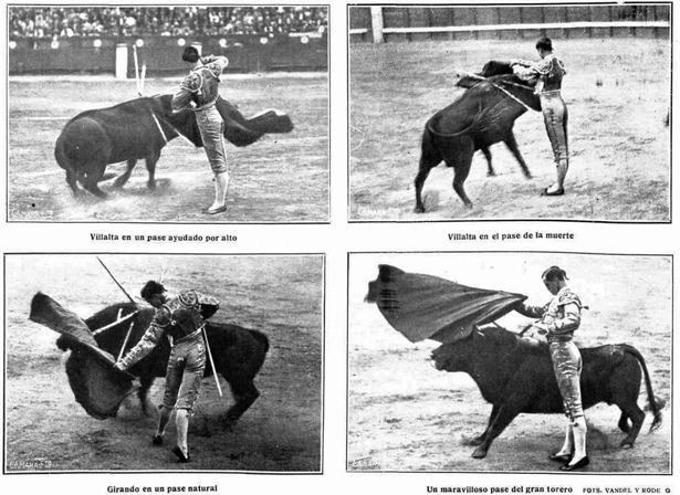 """Cuatro pases de Villalta durante la corrida de su alternativa, recogidos por """"Mundo Gráfico"""" (Biblioteca Nacional de España)"""
