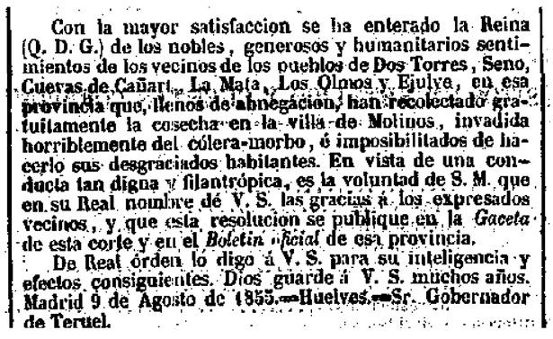 """Real Orden publicada en la """"Gaceta de Madrid"""" por la que la Reina agradece a varios pueblos de la provincia su comportamiento durante la epidemia de cólera de 1855."""