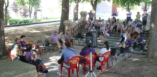 Una imagen de la reunión de ayer del Circulo Podemos de Teruel