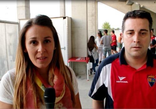 Maria Tejerina y el entrenador del CD Teruel,Nestor Pérez