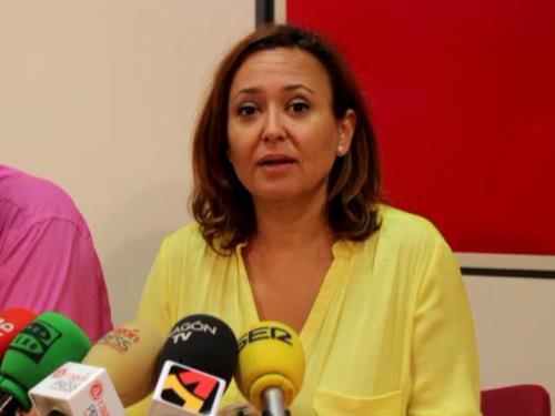En la imagen, Maite Pérez durante la Rueda de prensa de esta mañana