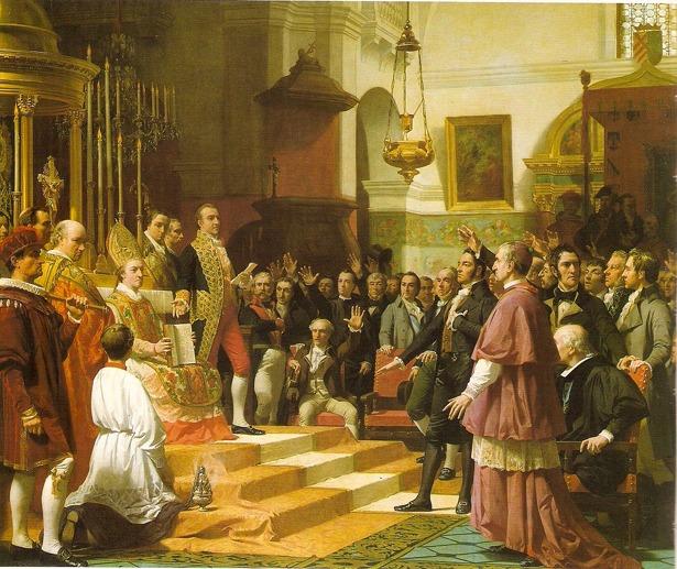 Vicente Pascual presidía las Cortes cuando se promulgó la Constitución de 1812, momento que recoge este cuadro expuesto en el Congreso (Wikipedia).