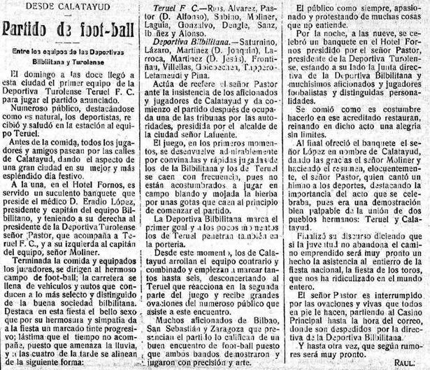 """Crónica del primer partido fuera de casa disputado por el """"Teruel F.C."""", nacido a principios de mes (""""La Provincia"""", Biblioteca Virtual de Prensa Histórica)."""