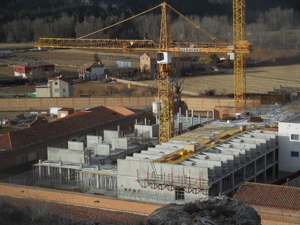 Hace 72 años concluyó el proyecto de la prisión de Teruel. En la imagen, obras de ampliación que se realizan en la actualidad.