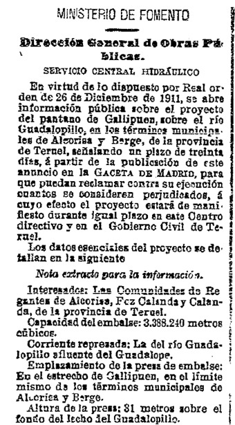"""El pantano de Gallipuén salió a información pública mediante este anuncio publicado en """"La Gaceta"""" un día como hoy, hace 101 años (Foto: BOE)."""