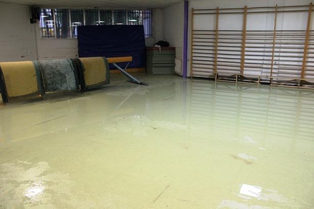 Una imagen de una zona del gimnasio del Colegio de Las anejas, ayer por la tarde