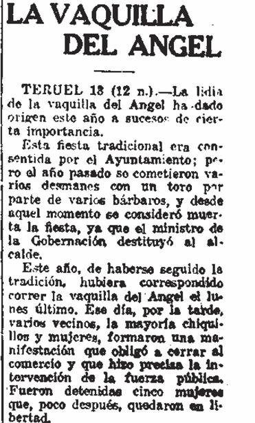 La supresión de la Vaquilla no sentó bien a los turolenses; noticia de agencia publicada por varios periódicos nacionales (Biblioteca Virtual de Prensa Histórica).