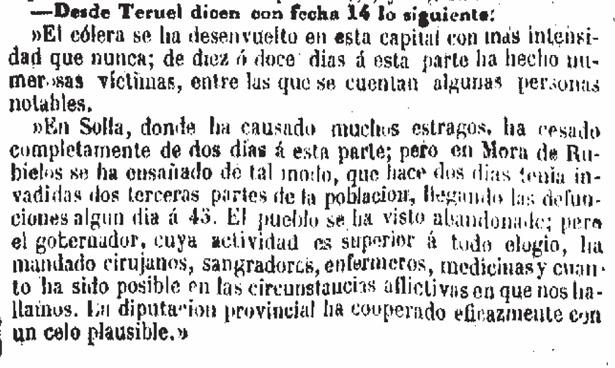 """Información de """"La Época"""" sobre el cólera en Teruel (""""Solla"""" debe de ser Cella). La epidemia que hubo 30 años después fue mucho más virulenta (Hemeroteca Digital del Ministerio de Cultura)."""