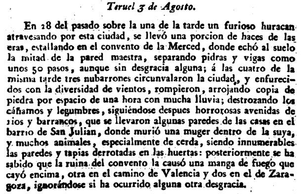 "Noticia de ""La Gaceta"" sobre el huracán que afectó a Teruel en 1830."