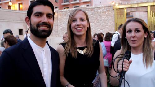 Nuestra compañera Maria Tejerina , a la derecha, con los miembros del seisado, y comapñeros de Aragón TV, Almudena  Llorente y  Javier Lizaga