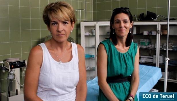En la imagen , a la izquierda, Ana Cristina Utrillas, cirujana , e Isabel Mendez, enfermera. los ángeles de la guarda de la Plaza de toros de Teruel