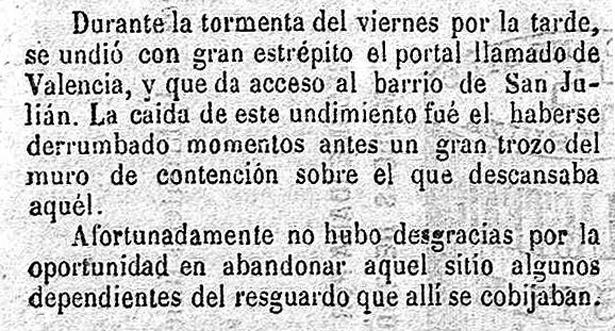Se cumplen 123 años de la desaparición de uno de los portales de la muralla de Teruel, el de Valencia (Eco de Teruel, Biblioteca Virtual de Prensa Histórica).