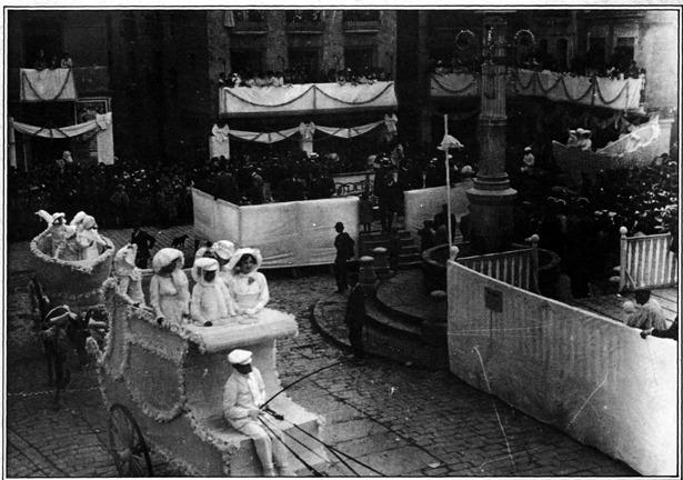 """Pie de foto: Un día como hoy, cuando corría el año 1908, se celebró en Teruel la primera fiesta del """"coso blanco""""."""