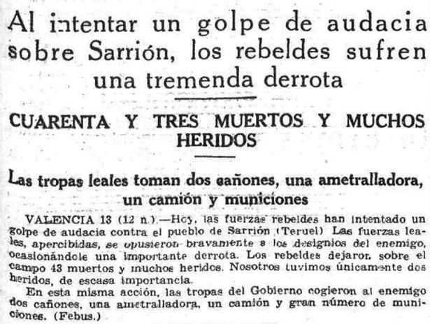 """Despacho de la agencia """"Febus"""" sobre la batalla de Sarrión (Hemeroteca digital)."""