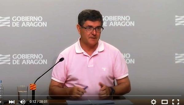 El portavoz del Gobierno de Aragón, Vicente Guillén, esta mañana tras el Consejo de Gobierno