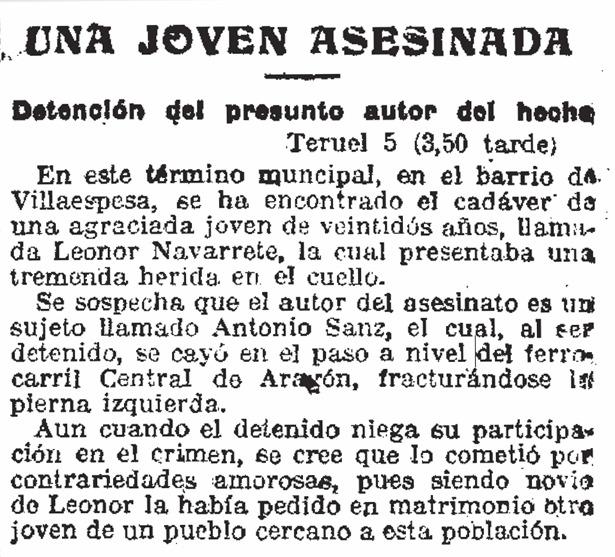 """Crónica de """"El Imparcial"""" sobre el crimen de una joven en Villaspesa, hace hoy 98 años."""