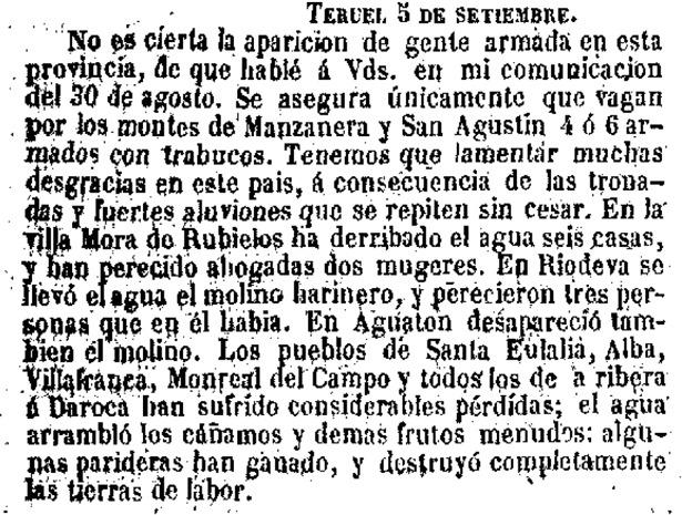 """Noticia publicada un día como hoy en 1852 por """"El Clamor Público"""", sobre las catastróficas inundaciones y también sobre la aparición de bandoleros (Hemeroteca Digital del Ministerio de Cultura)."""