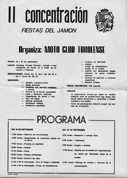 """Tal día como hoy, en 1978 y con 193 inscritos, nació la concentración motorista """"Fiestas del Jamón"""", que aún pervive. En la foto, programa de la segunda edición."""