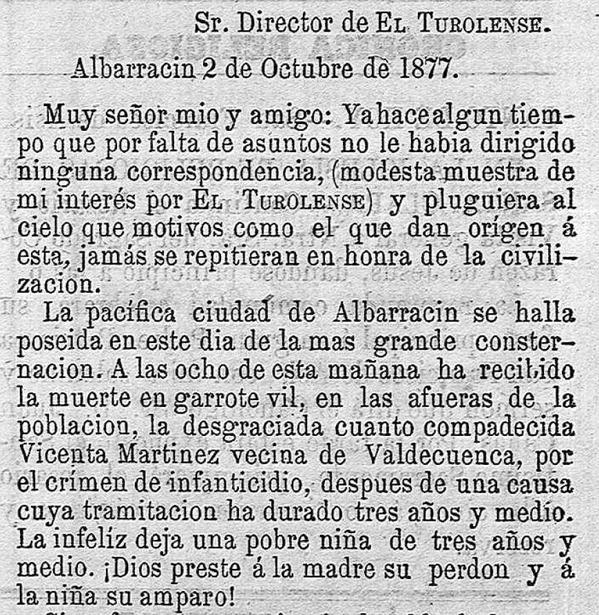 """Inicio de la crónica de la ejecución de Vicenta Martínez, en 1877, narrada por el periódico """"El Turolense""""."""