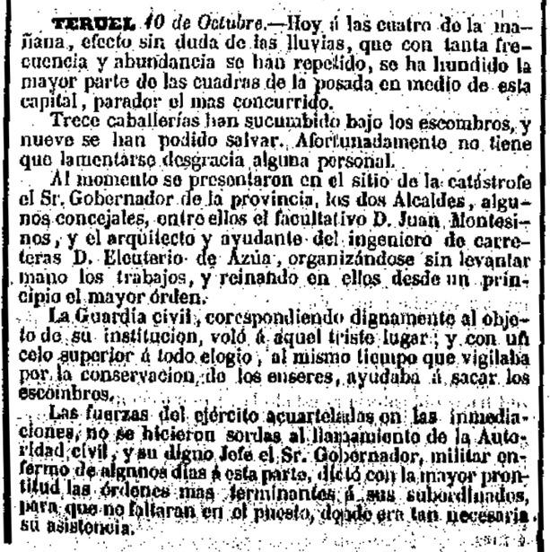 """En 1855 se hundieron las cuadras de la posada de en Medio, en la desaparecida calle del mismo nombre, muriendo 17 animales; esta es la noticia que publicó """"La Gazeta"""" (BOE)."""