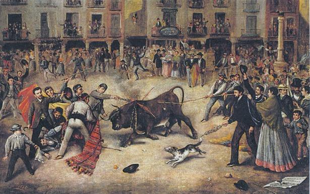 Cuadro de Salvador Gisbert, fallecido un día como hoy, de gran interés histórico: muestra el emplazamiento de la fuente de la plaza del Torico entre 1855, año de su construcción, y 1886 en que se trasladó a su ubicación actual.