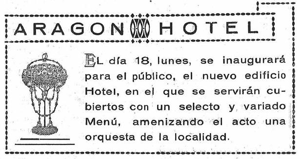 Al público se abrió el 18, como pregona este anuncio, pero la inauguración formal, con cena de gala y baile, fue la víspera.