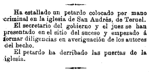 """El atentado que sufrió la iglesia de San Andrés tuvo amplia difusión en la prensa nacional; en la foto, breve de """"El Correo Militar"""" (Hemeroteca Digital /BNE)."""