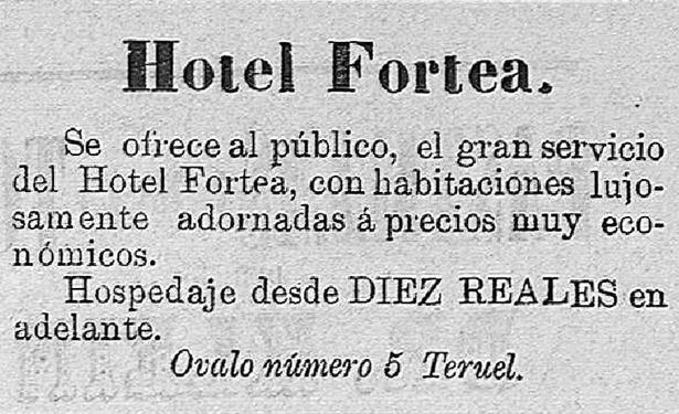"""Anuncio del """"Hotel Fortea"""", que abrió al público en el Óvalo hace 120 años."""