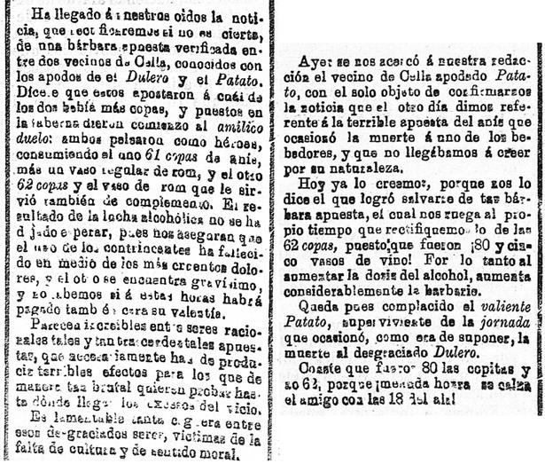 """Peripecias de """"El Dulero"""" y """"El Patato"""", de Cella, publicadas por el """"Diario de Teruel"""" de 1904 (Biblioteca Virtual de Prensa Histórica)."""