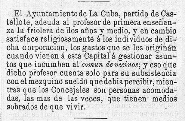 """""""Pasar más hambre que un maestro"""": Noticias como ésta, publicada hace 138 años, explican el origen de la expresión (Biblioteca Virtual de Prensa Histórica)"""