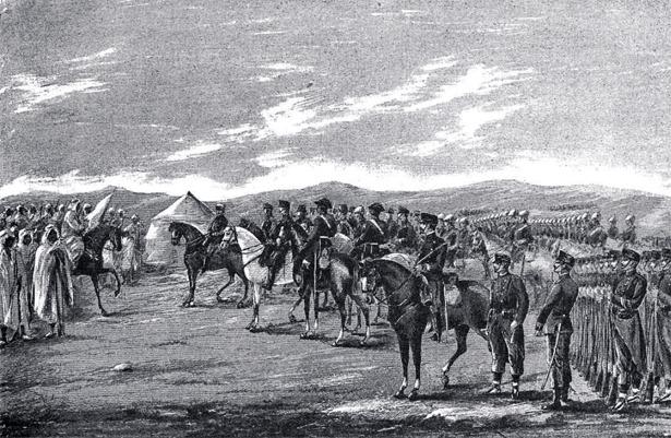 Muy famoso y elogiado, especialmente a finales del siglo XIX, el general Macías fue un turolense nacido el 3 de noviembre de 1844. En el grabado, entrevistándose con un príncipe marroquí (La Ilustración Ibérica /Hemeroteca Digital)