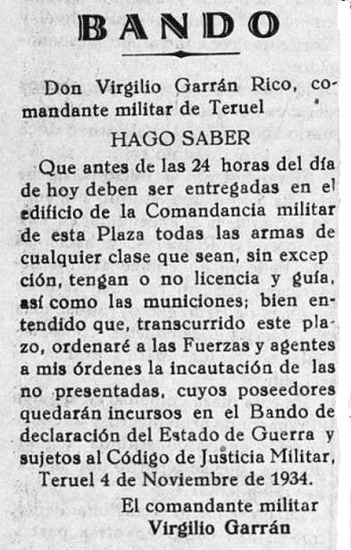 Bando publicado por el gobernador militar un día como hoy del convulso año 1934 (Acción / Biblioteca Virtual de Aragón).