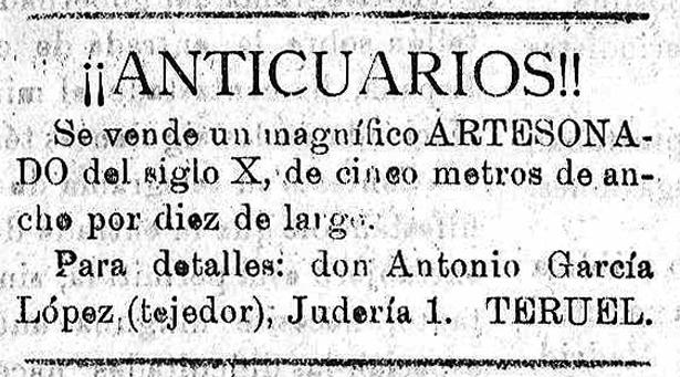 """Anuncio de venta del artesonado de la """"Casa del Judío"""", actualmente en Estados Unidos, publicado hace cien años (Diario Turolense / Biblioteca Virtual de Prensa Histórica)."""