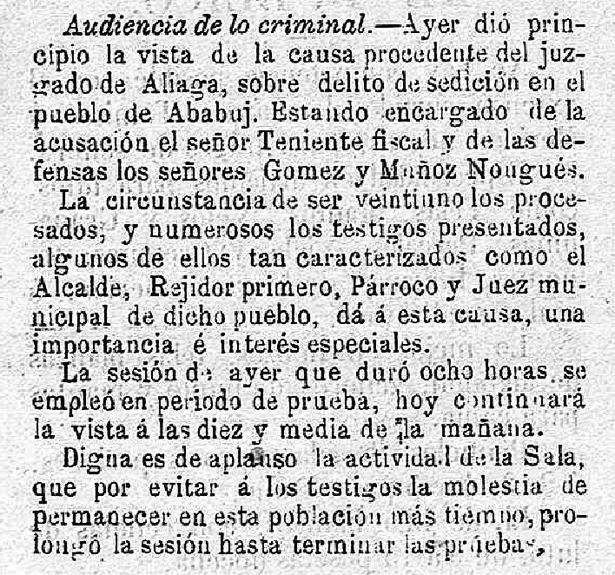 Un importante número de vecinos de Ababuj fue sometido a juicio, hace 130 años, por atentado contra la Guardia Civil (Diario de Teruel / Biblioteca Virtual de Prensa Histórica).