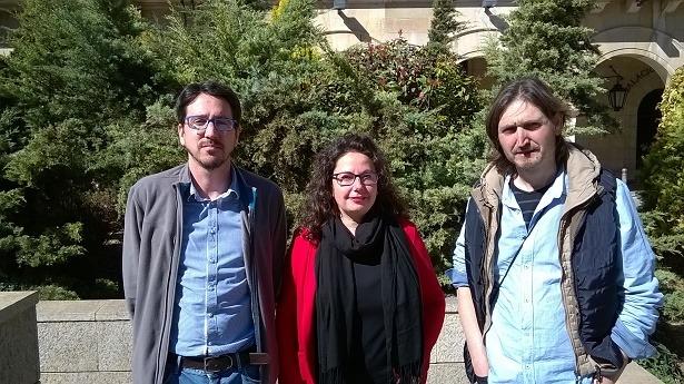 En la imagen de izquierda a derecha, Pedro Bello y Anabel Gimeno, de Ganar Teruel y  Javier Carbo, de CHA. Son los diputados autores de la moción que se debatió y aprobó ayer en DPT sobre el aumento del número de bomberos