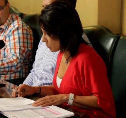 La concejal de Ciudadanos, Loreto Camañes, esta mañana durante el debate