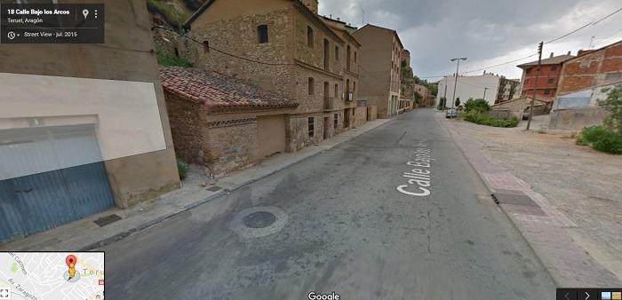 Una imagen , obtenida de Google Maps, de la calle Bajo Los Arcos